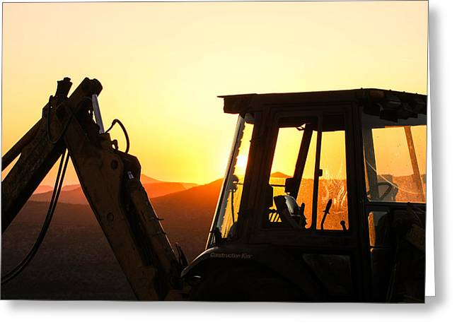 Front End Loader Greeting Cards - Construction Sunrise Greeting Card by Renny Spencer