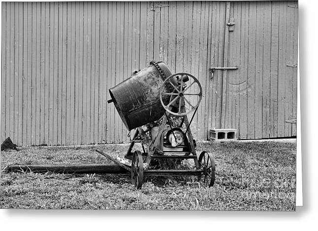 Belt Driven Greeting Cards - Construction - Vintage Cement Mixer Greeting Card by Paul Ward