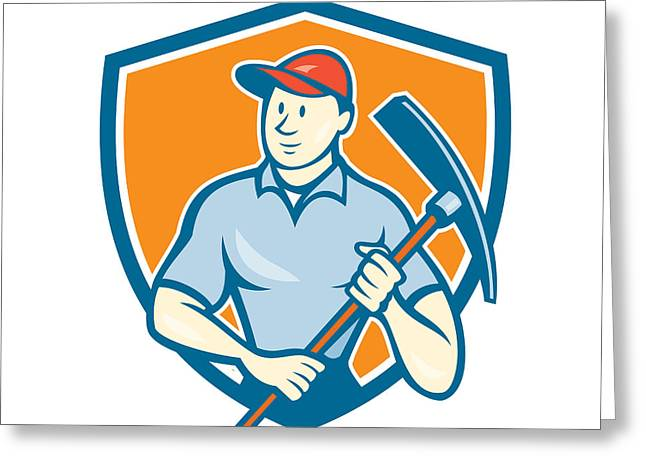 Construction Workers Greeting Cards - Construction Worker Holding Pickaxe Shield Cartoon Greeting Card by Aloysius Patrimonio