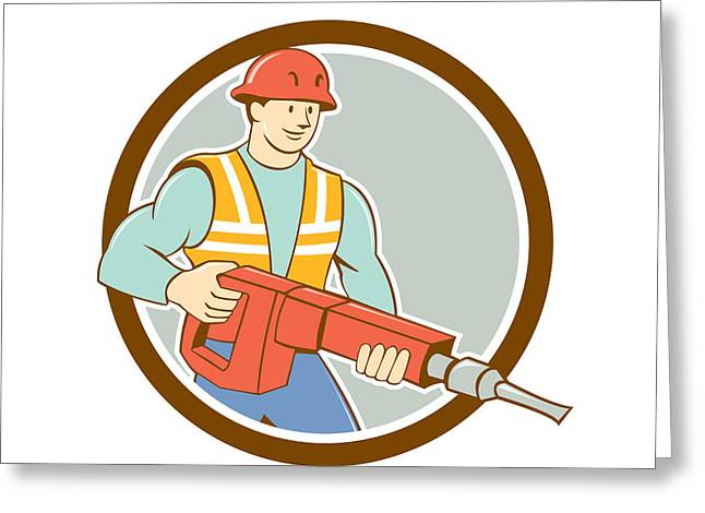 Jackhammer Greeting Cards - Construction Worker Jackhammer Circle Cartoon Greeting Card by Aloysius Patrimonio