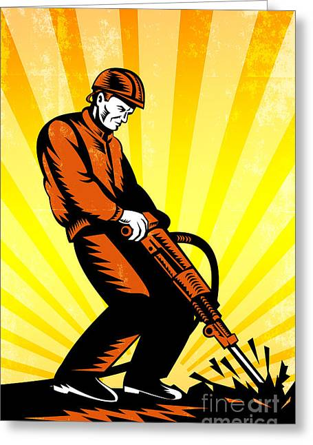 Jackhammer Greeting Cards - Construction Worker Jackhammer Retro Poster Greeting Card by Aloysius Patrimonio