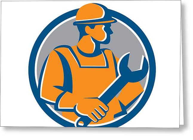 Construction Workers Greeting Cards - Construction Worker Spanner Circle Cartoon Greeting Card by Aloysius Patrimonio