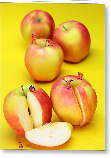 Fresh Food Digital Art Greeting Cards - Construction workers Choping Apples miniature art Greeting Card by Paul Ge