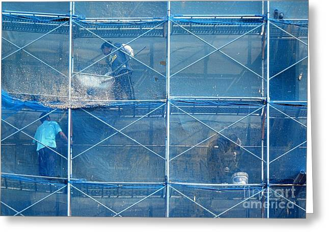 Netting Greeting Cards - Construction Workers  High up on Scaffolding Greeting Card by Yali Shi