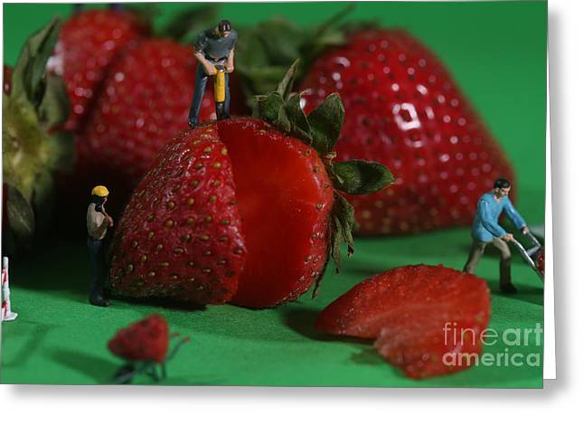 Jackhammer Greeting Cards - Construction Workers in Conceptual Food Imagery With Strawberrie Greeting Card by Katrina Brown