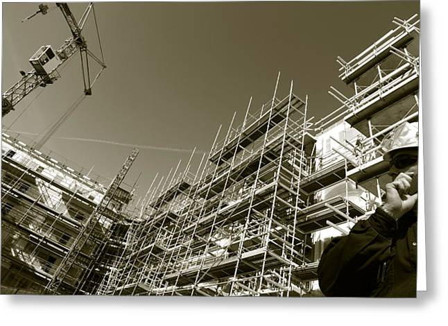 Construction Workers Greeting Cards - Construction Works Greeting Card by Christian Lagereek