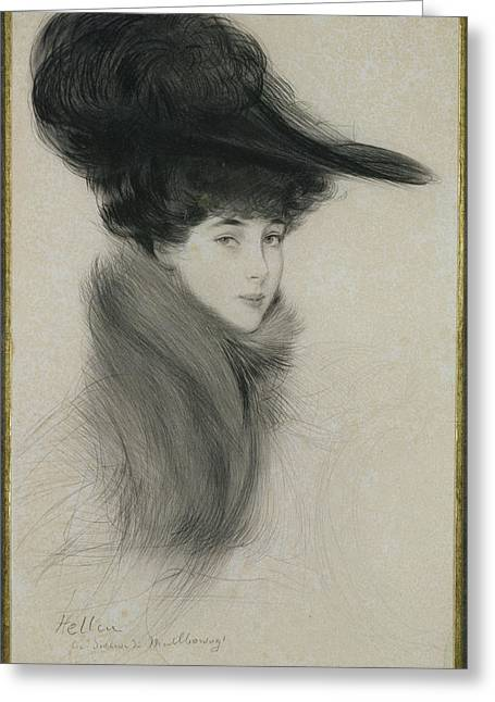 Fur Collar Greeting Cards - Consuelo Vanderbilt 1877-1964 Duchess Of Marlborough, C.1901 Drypoint Greeting Card by Paul Cesar Helleu