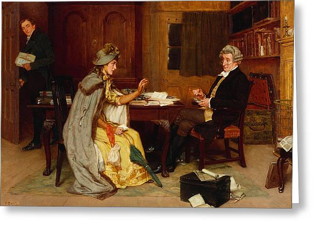 Consulting Her Lawyer Greeting Card by Frank  Dadd