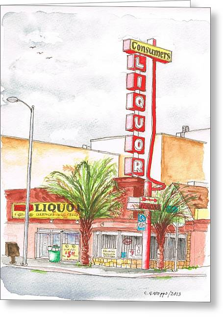 Red Wine Prints Greeting Cards - Consumers Liquor in Sunset Blvd - Hollywood - CA Greeting Card by Carlos G Groppa