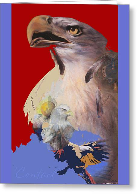 Eagles Pastels Greeting Cards - Contact 3 Greeting Card by Brooks Garten Hauschild