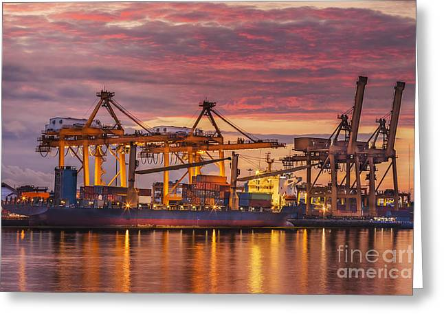 Town Pier Greeting Cards - Container Greeting Card by Anek Suwannaphoom
