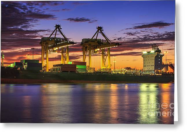 Town Pier Greeting Cards - Container Cargo Greeting Card by Anek Suwannaphoom