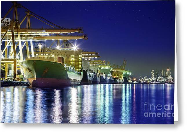 Bangkok Greeting Cards - Container Cargo freight ship Greeting Card by Anek Suwannaphoom