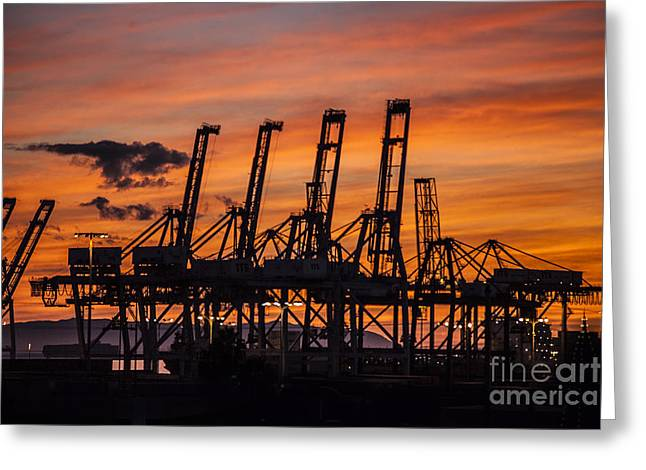 Container Cargo Loading Cranes Greeting Card by Spencer Grant