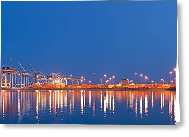Reflecting Water Greeting Cards - Container port, Canada Greeting Card by Science Photo Library