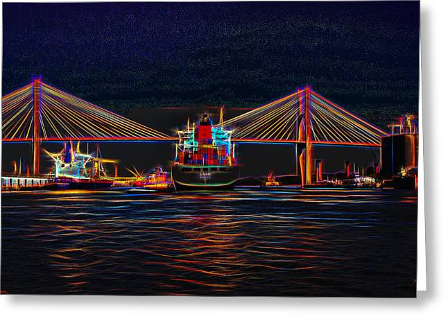 Docked Boat Greeting Cards - Container ship Arriving at Savannah Greeting Card by John Bailey