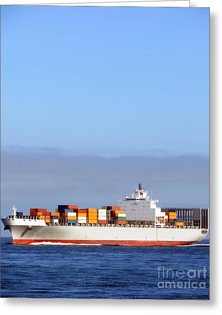 Sailing Ship Greeting Cards - Container Ship at Sea Greeting Card by Olivier Le Queinec