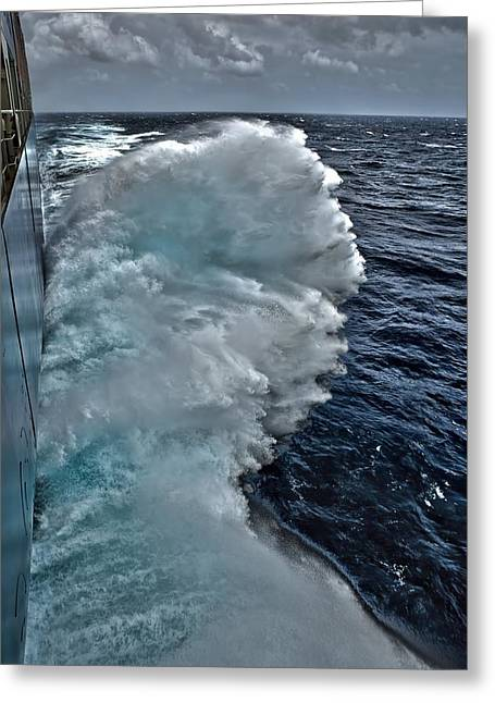 Cargo Greeting Cards - Container ship at sea Greeting Card by Science Photo Library
