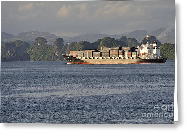 Container Ship In Halong Bay Greeting Card by Sami Sarkis