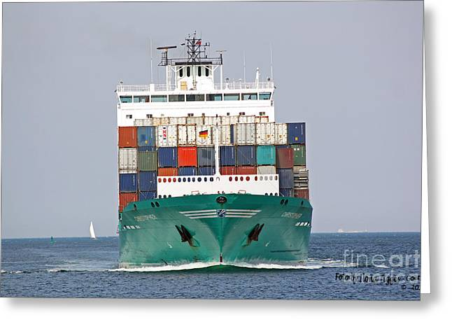 Schweitz Greeting Cards - Container Ship on Kiel Fjord Greeting Card by  ILONA ANITA TIGGES - GOETZE  ART and Photography