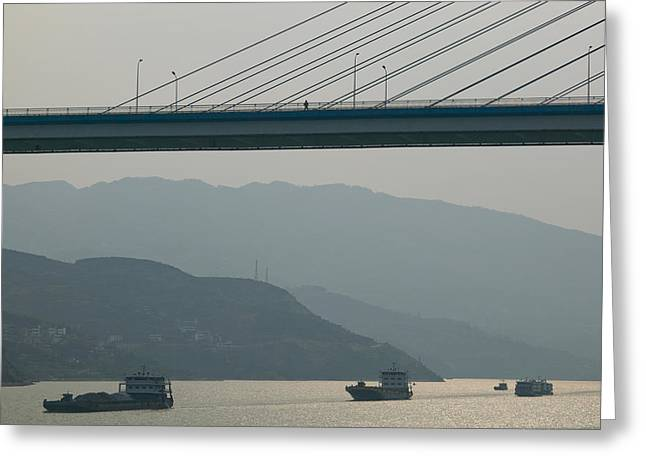 Container Ships Passing A Newly Greeting Card by Panoramic Images