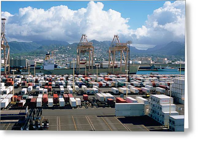 Commercial Photography Greeting Cards - Containers And Cranes At A Harbor Greeting Card by Panoramic Images