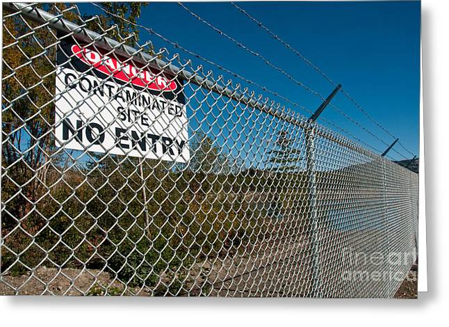 Contaminated Greeting Cards - Contaminated Site Sign Greeting Card by Mark Newman