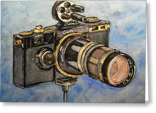 Camera Paintings Greeting Cards - Contax I Greeting Card by Juan  Bosco