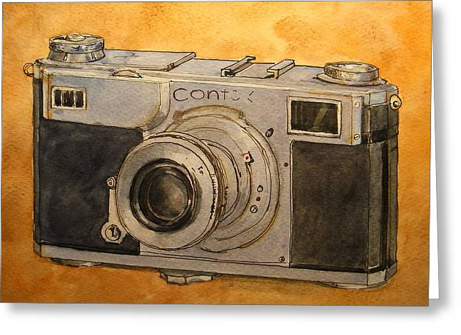 Camera Paintings Greeting Cards - Contax II Greeting Card by Juan  Bosco