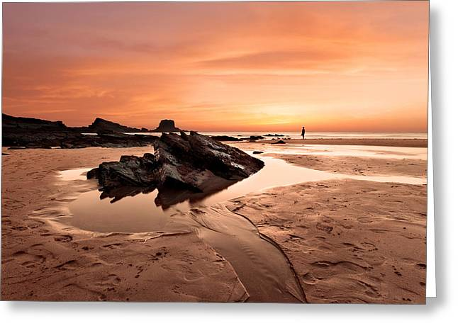 Sunset Seascape Greeting Cards - Contemplating Greeting Card by Jorge Maia