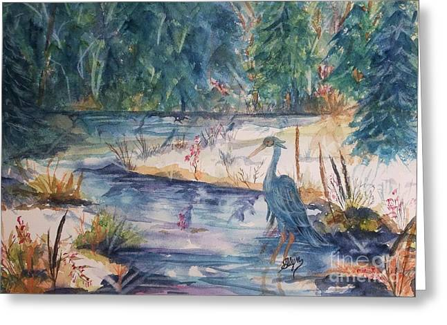 Stream Greeting Cards - Contemplating Lunch Greeting Card by Ellen Levinson