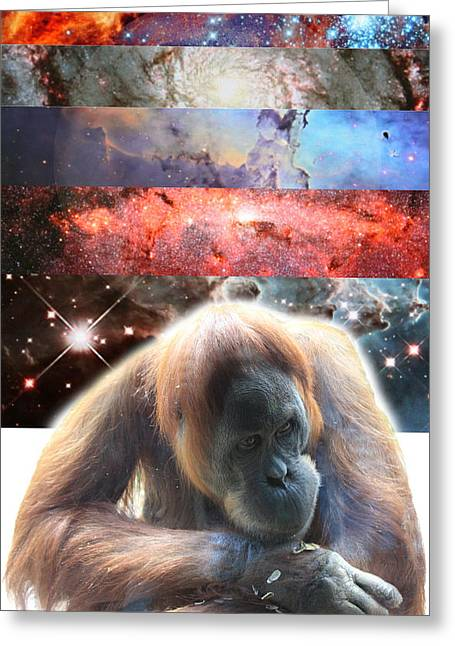 Orangutan Digital Art Greeting Cards - Contemplating Multiple Universes Greeting Card by John Lautermilch