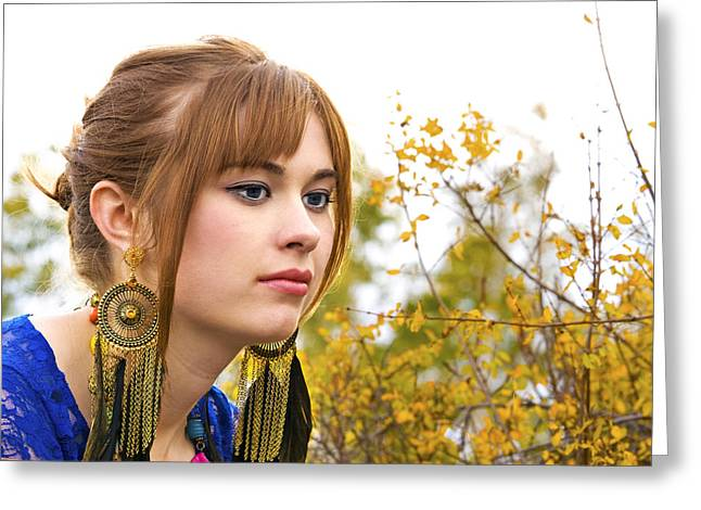 Gold Earrings Greeting Cards - Contemplating the Changing Season Greeting Card by DJ Haimerl