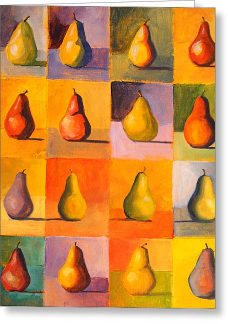 Repetition Paintings Greeting Cards - Contemplating the Pear Greeting Card by Nancy Merkle