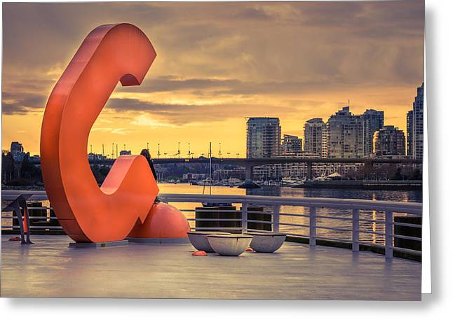 Cambie Bridge Greeting Cards - Contemplating the View Greeting Card by Lukasz Lawreszuk