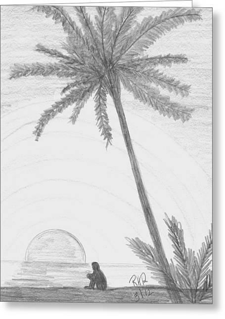 Beach Sunsets Drawings Greeting Cards - Contemplation at the Beach Greeting Card by Ray Ratzlaff