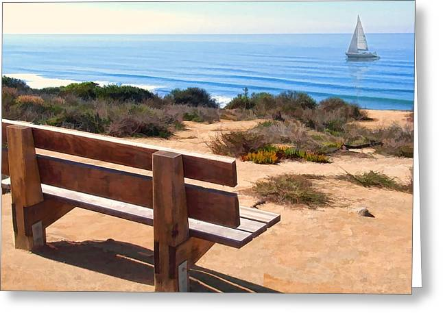Cambria Greeting Cards - Contemplation Bench at the Oceans Edge Greeting Card by Elaine Plesser