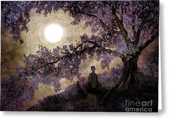 Buddhist Monks Greeting Cards - Contemplation Beneath the Boughs Greeting Card by Laura Iverson