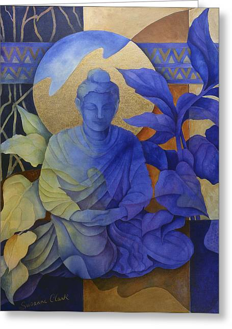 Asian Art Greeting Cards - Contemplation - Buddha Meditates Greeting Card by Susanne Clark