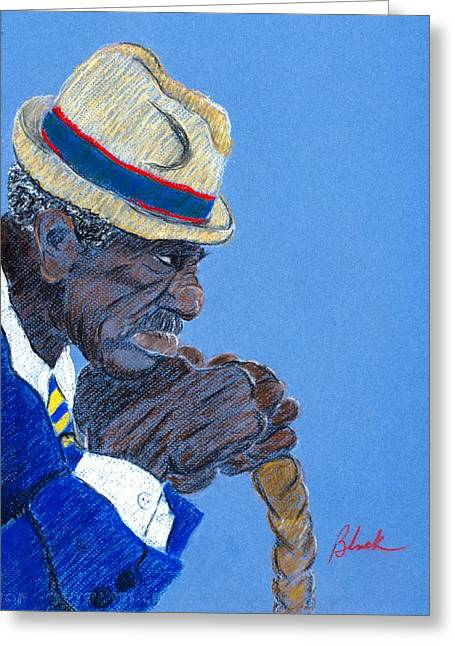 African-americans Pastels Greeting Cards - Contemplation Greeting Card by Charlie Black