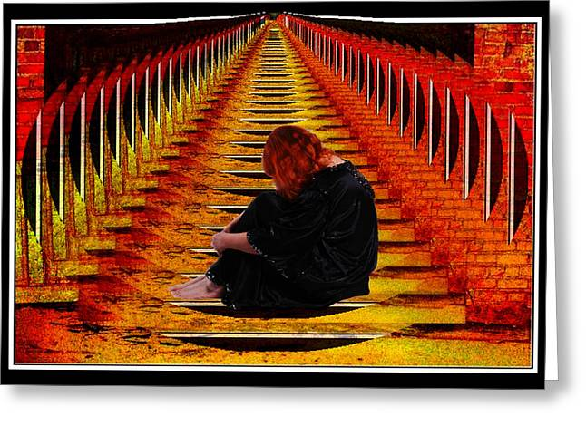 Self-portrait Photographs Greeting Cards - Contemplation Manipulated Artwork Greeting Card by Constance Lowery