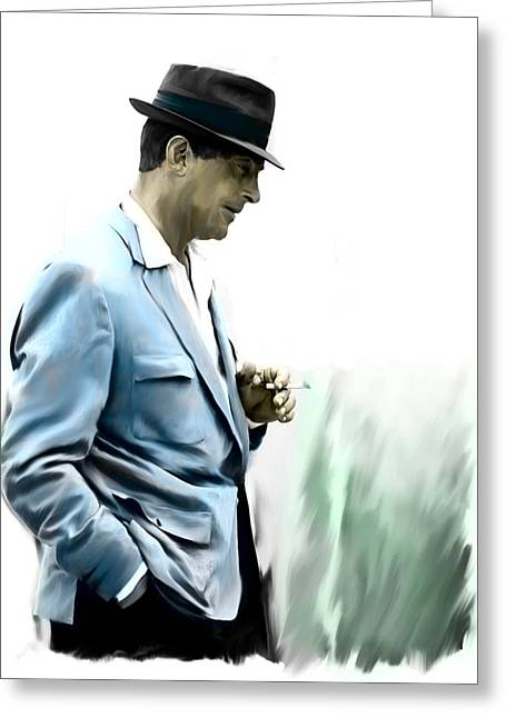 The Voice Greeting Cards - Contemplation  Dean Martin  Greeting Card by Iconic Images Art Gallery David Pucciarelli