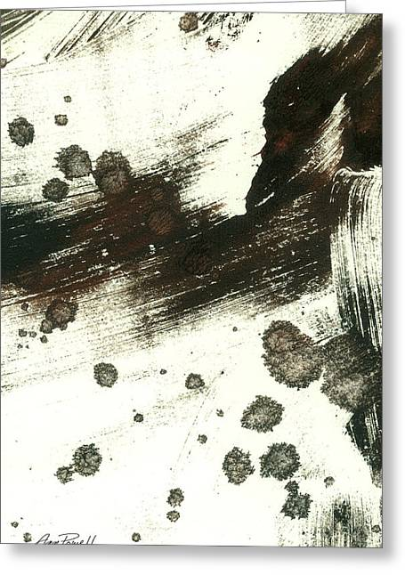 Abstract Expressionist Greeting Cards - Contemplation in Black and White abstract art Greeting Card by Ann Powell