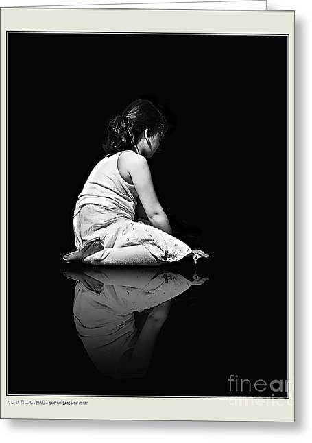 Pensive Greeting Cards - Contemplation In Dark Greeting Card by Pedro L Gili