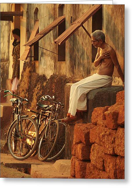 Journalism Greeting Cards - Contemplation. Indian Collection Greeting Card by Jenny Rainbow