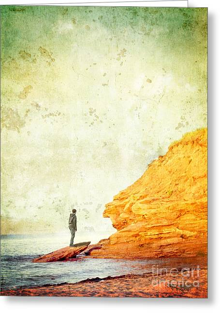 Cliffs Photographs Greeting Cards - Contemplation Point Greeting Card by Edward Fielding