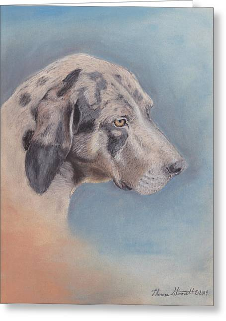 Recently Sold -  - Puppies Pastels Greeting Cards - Contemplation Greeting Card by Theresa Stinnett