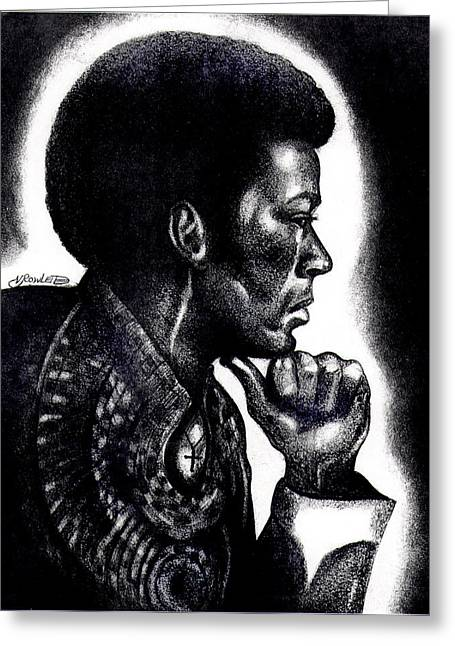 African-american Drawings Greeting Cards - Contemplation Greeting Card by Vernon Rowlette