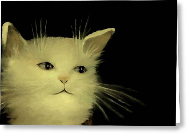 Kitten Prints Pastels Greeting Cards - Contemplative Cat   No.1 Greeting Card by Diane Strain