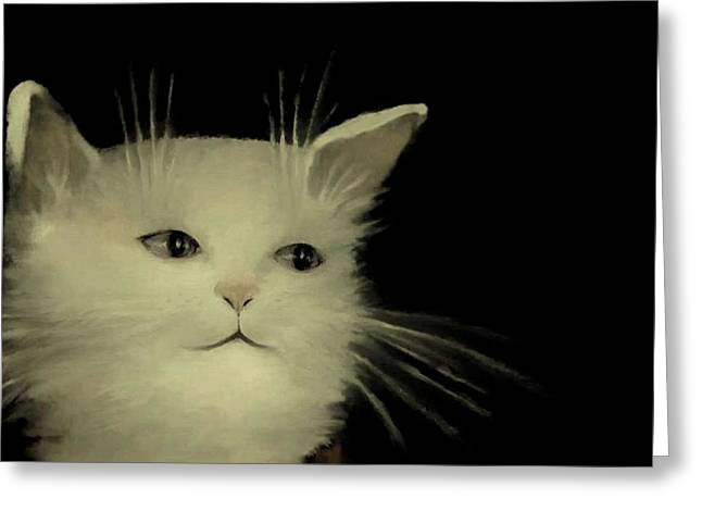 Kitten Prints Pastels Greeting Cards - Contemplative Cat   No.2 Greeting Card by Diane Strain